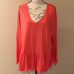 Caslon coral Long sleeved V-neck ruffle tee 1X